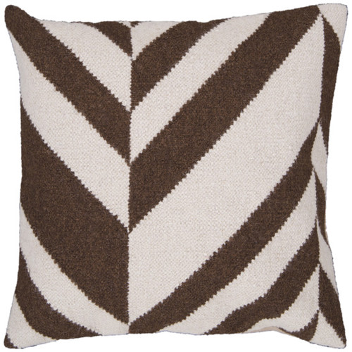 "22"" Coffee Bean Brown and Ivory Chevron Decorative Throw Pillow - 28569358"