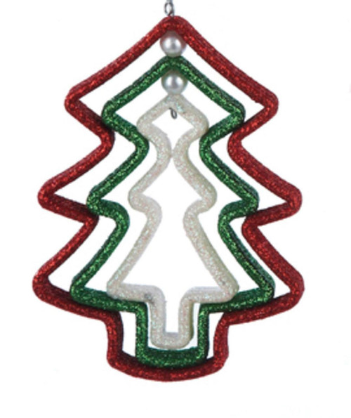 """5"""" Nested Red, Green and White Glittered Tree Christmas Ornament - 31085784"""