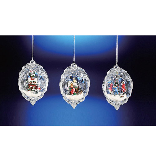"Club Pack of 12 Icy Crystal Egg Shaped Christmas Scene Ornaments 4.5"" - 31002258"