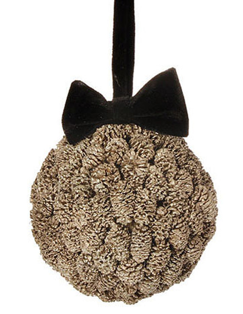 "5"" Gold Metallic Pine Cone Ball with Black Bow Christmas Ornament - 31083545"