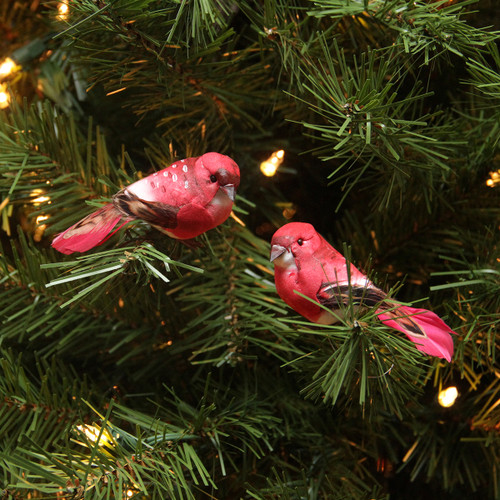 """Pack of 12 Red and Pink Smoke Spotted Bird Christmas Ornaments 3.25"""" - 31465503"""