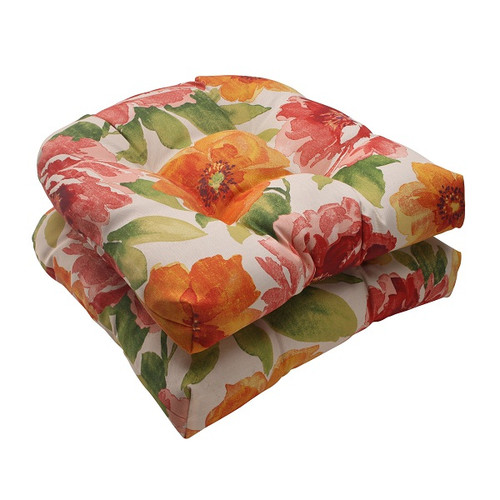 """Set of 2 White Floral Splash Outdoor Patio Tufted Wicker Seat Cushions 19"""" - 30951742"""