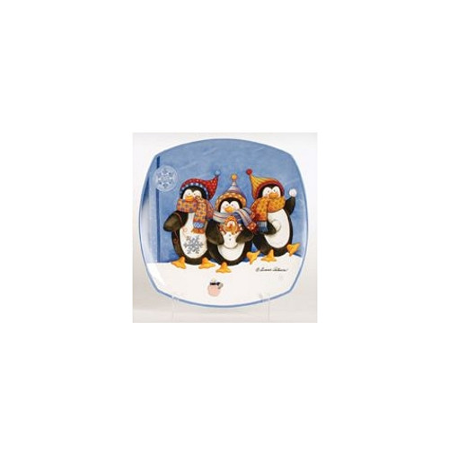 """12"""" Snow Drift Penguin Family and Baby Square Porcelain Christmas Dining Plate - 30852683"""