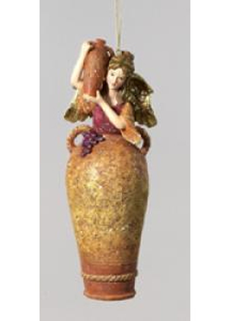 """7"""" Large Lady Angel Urn with Wine Jug Christmas Ornament - 6521845"""