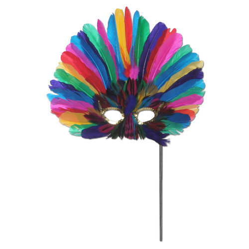 Club Pack of 12 Festive Multi-Colored Feathered Mardi Gras Masquerade Masks - 31558208