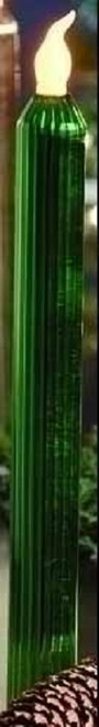 Set of 2 Merry Little Christmas LED Lighted Green Glass Taper Candles - 9729087