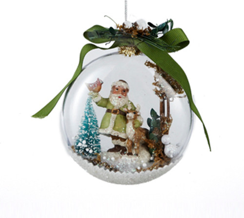 "4.5"" In the Birches Santa with Deer and Cardinal Winter Scene Christmas Disk Ornament - 31082458"