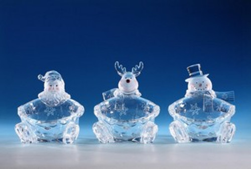 """Pack of 6 Icy Crystal Decorative Christmas Candy Bowls 6"""" - 31002386"""