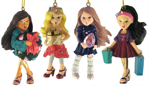 Set of 4 Bratz Kloe, Sasha, Yashim & Jade Christmas Ornaments - 6678100