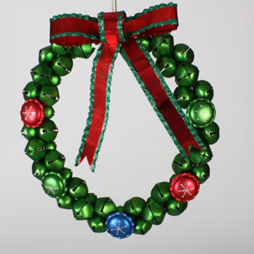 """14.5"""" Christmas Brights Green Jingle Bell Wreath with Red Bow - 21294553"""