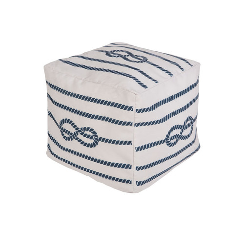 """18"""" Cobalt Blue and Ivory Knotted Rope Square Outdoor Patio Pouf Ottoman - 31087582"""