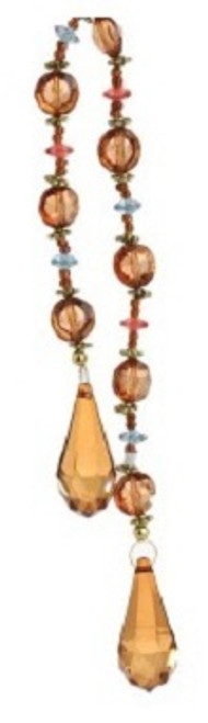 "17"" Victorian Inspirations Amber Brown Beaded Teardrop Christmas Drop Ornament - 30790111"