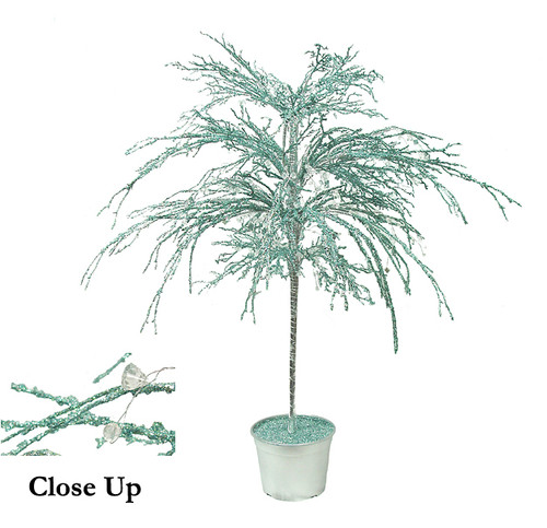 """46"""" Teal & Silver Crystallized Glitter Potted Holiday Tree - Mirrors & Beads - 6595335"""
