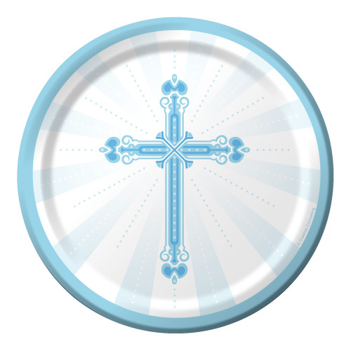 "Club Pack of 180 Blue and White Communion Party Plates From the Blessings Collection 7"" - 32040212"