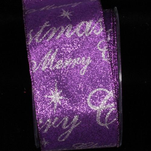 "Shimmering Purple And Silver ""Christmas"" Wired Craft Ribbon 2.5"" x 20 Yards - 31392050"