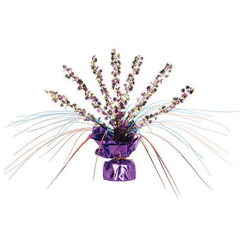 Club Pack of 12 Retro Flowers Purple, Yellow, Blue & Orange Foil Gleam 'N Spray Centerpieces 11'' - 31557787