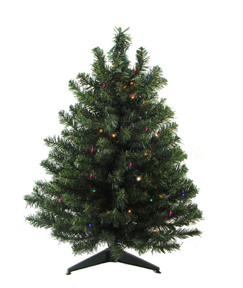 3' Pre-Lit LED Natural Two-Tone Pine Artificial Christmas Tree - Multi Lights - 26184198