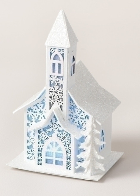 """9.5"""" LED Color Changing Church Facade with Snowflake Design Christmas Decoration - 31104846"""
