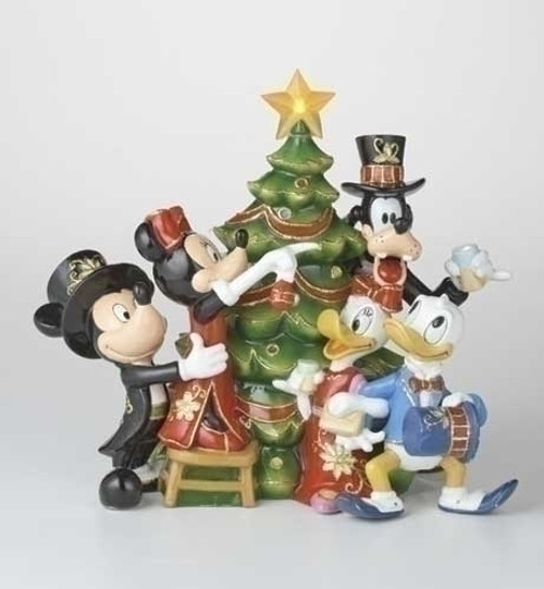 """8"""" Lighted Cloisonne Mickey & Friends Christmas Party Holiday Figure - 6685461"""