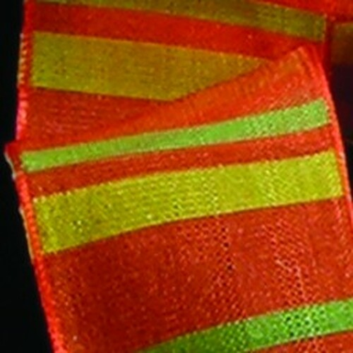 """Semi Sheer Orange, Green, and Yellow Stripes Woven Wired Craft Ribbon 1.5"""" x 27 Yards - 31384917"""
