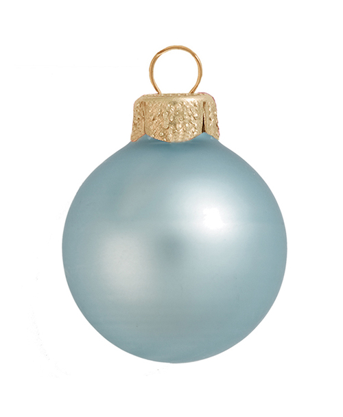 "40ct Matte Baby Blue Glass Ball Christmas Ornaments 1.5"" (40mm) - 30939371"