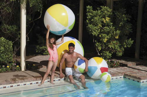 """46"""" Classic Inflatable 6-Panel Polka Dotted Beach Ball Swimming Pool Toy - 31084450"""