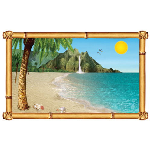 "Pack of 6 Tropical Beach Insta-View Island Theme Wall Decoration 62"" - 31559443"
