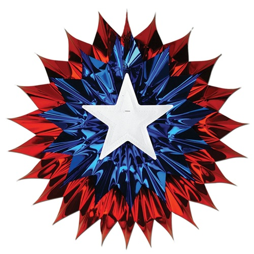 """Club Pack of 12 Red, White and Blue Patriotic Hanging Fan Decorations 15"""" - 31561275"""