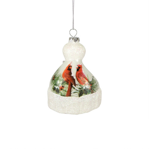 Nature's Story Teller Hat Shaped Christmas Ornament with Cardinals - 9729164