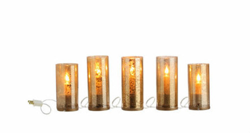 "78"" Strand of 5 Gilded Flameless Christmas Candles - 30790694"