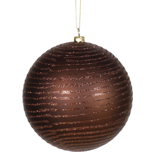 "Chocolate Brown Glitter Stripe Shatterproof Christmas Ball Ornament 4.75""(120mm) - 31105620"