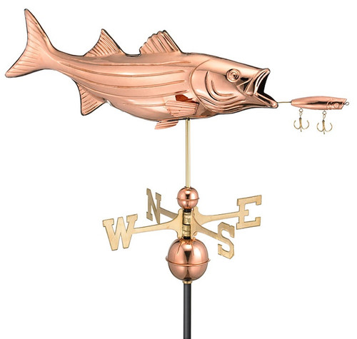 "35"" Grand Luxury Handcrafted Polished Copper Bass and Lure Weathervane - 10826671"