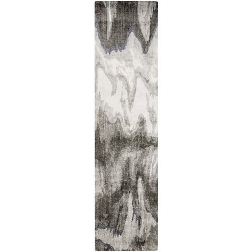 2.5' x 8' Rapid Falls Charcoal And Ash Gray Bamboo Silk Hand Tufted Area Throw Rug Runner - 31346591