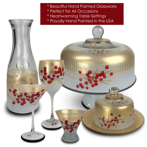 Berries and Branches Hand Painted Frosted Glass Serving Carafe 34 Ounces - 31010916