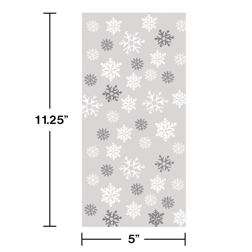 Pack of 240 Large Christmas Snowflake Cellophane Treat Goodie Bags with Ties - 31008783