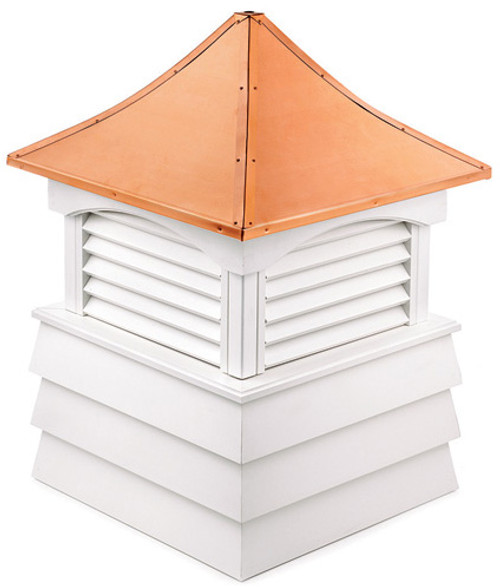 """92"""" Handcrafted """"Hyde Park"""" Copper Roof Vinyl Cupola - 9449974"""
