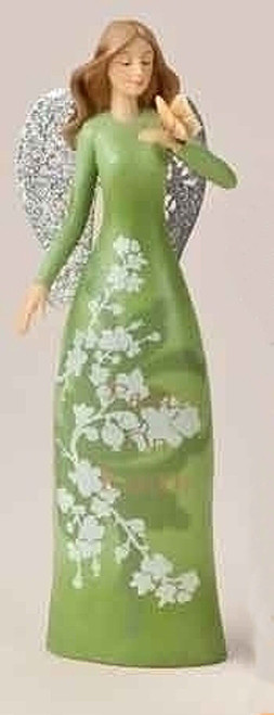 "8"" Christmas Garden Green Floral Angel Figure with Verse - 15567037"