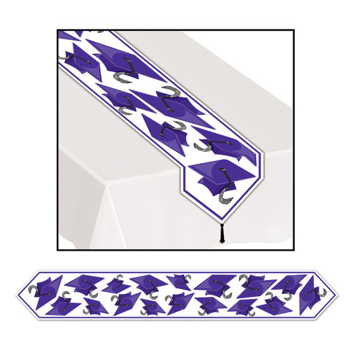 Club Pack of 12 Purple Celebration Grad Cap Table Runner 6' - 31559112