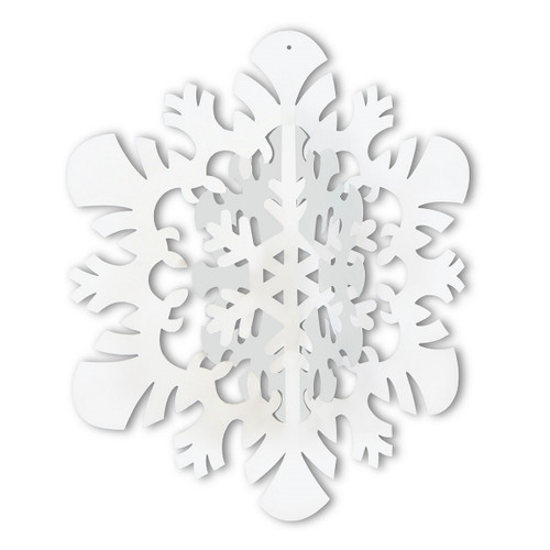 "Club Pack of 12 Winter Wonderland Themed 3-D Snowflake Hanging Party Decorations 14"" - 31562795"