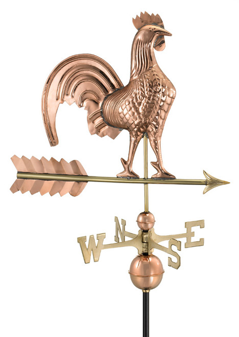 "25"" Luxury Polished Copper Bold Rooster Weathervane - 9449659"