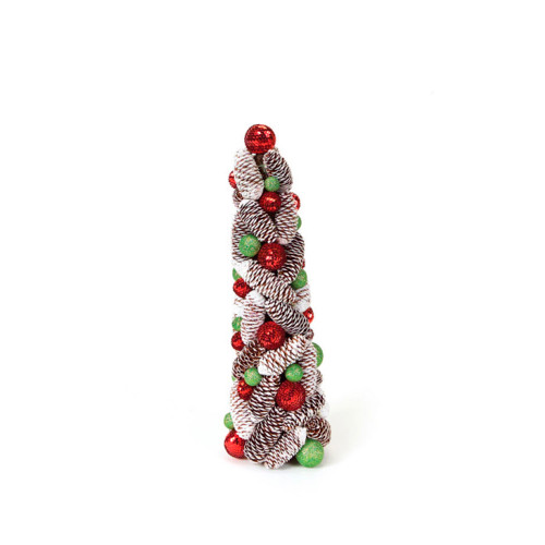 """18"""" Candy Crush Frosted Pine Cone and Ball Artificial Christmas Topiary Tree - 17103633"""