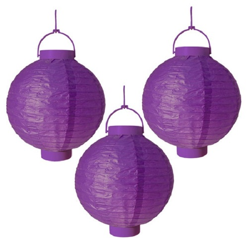 "Pack of 3 Lighted Battery Operated Purple Garden Patio Chinese Paper Lanterns 8"" - 31065890"