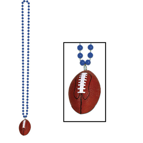 """Club Pack of 12 Blue Beads with Football Medallion Necklaces 33"""" - 31558196"""