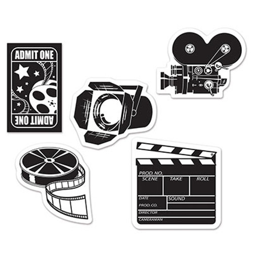 """Club Pack of 240 Black and White Mini Movie Set Cutout Party Decorations 5"""" - 31558184"""