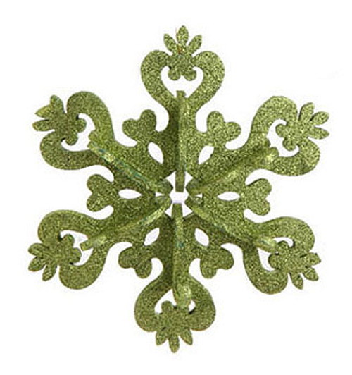 """9"""" Christmas Brites Large Green Glitter Drenched Snowflake Ornament - 31083202"""