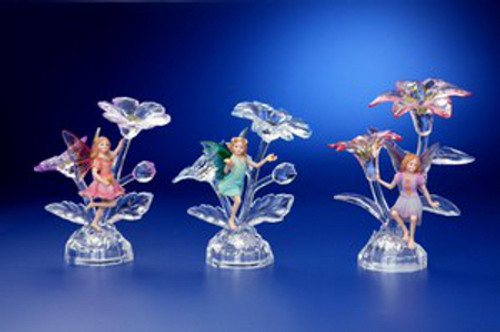 "Pack of 6 Icy Crystal Illuminated Decorative Fairy with Flower Figurines 6"" - 31002445"