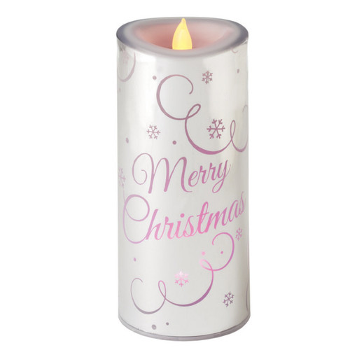 "7.25"" Color Changing LED Lighted Flameless Silver ""Merry Christmas"" Candle - 16190231"