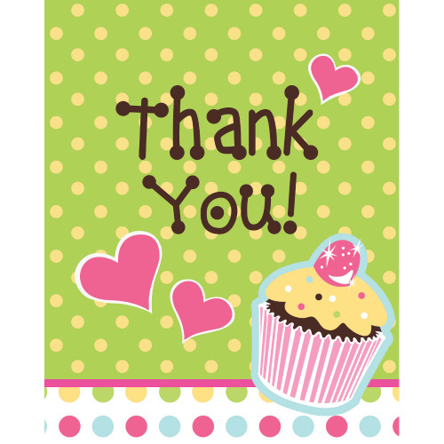 "Club Pack of 96 Sweet Treats Cupcake Party Paper ""Thank You"" Notes 5"" - 31382608"