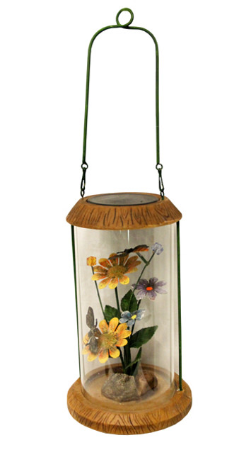 "10.5"" LED Lighted Solar Powered Outdoor Garden Lantern with Flowers - 28361555"