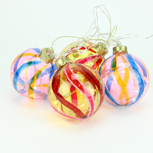 set of 4 battery operated pink and yellow swirl glass ball led lighted christmas ornaments 31464201 - Lighted Christmas Ornaments